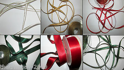 Double Sided Satin Ivory,White,Red,Green, Ribbon With Lurex Gold Edge
