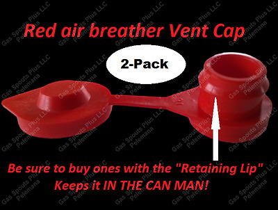 2 RED VENT CAPS w/ Retaining Lip Fuel Gas Diesel Water Jug Vents Blitz Wedco NEW