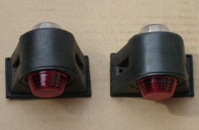 2 Trailer Mudguard Towing Red White Marker Lights Bulbs 12/24V Truck Chassis Bus