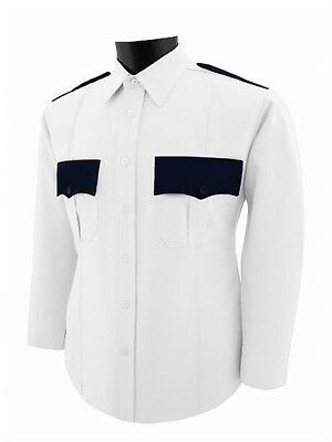 Two Tone white and black uniform polyester shirt Long Sleeve
