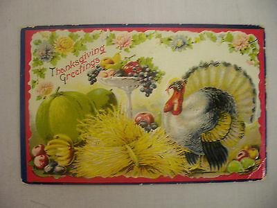 Vintage Embossed Thanksgiving Postcard Turkey With Harvest Fruit 1910