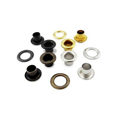 3mm or 4mm steel eyelets with washers in silver, black, gold, antique brass