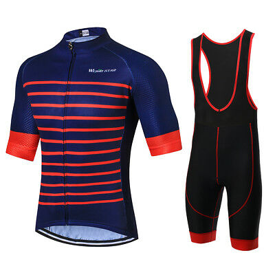 C-black New Cycling Bike Short Sleeve Clothing Set Bicycle Men Jersey Bib Shorts