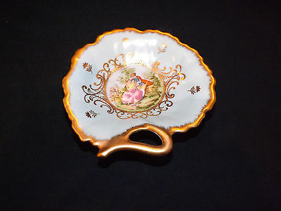 Vintage Lefton China Trinket Dish Victorian Couple Heavy Gold Trim
