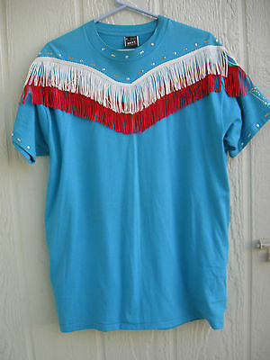 Fruit of the Loom peacock blue short sleeve poly cotton fringe Western tee  EUC