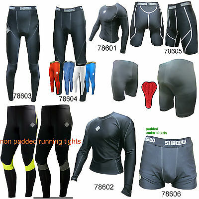 SHADOW Compression shorts top tights vest Baselayer running skins mens (AA)