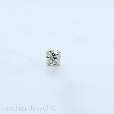 2Mm Simulated Diamond Solid 925 Sterling Silver L-Shaped Ball Straight Nose Stud