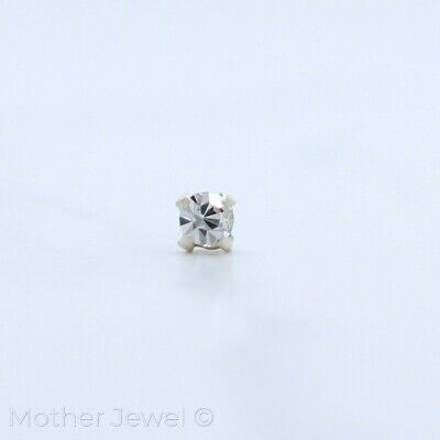 Simulated Diamond Solid 925 Sterling Silver L-Shaped Ball Straight End Nose Stud