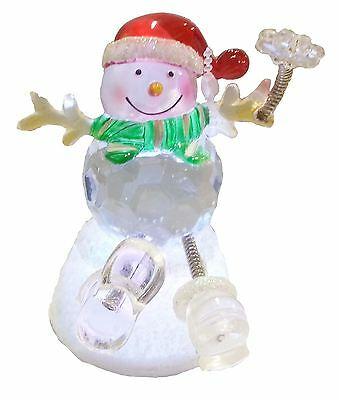 Ice Christmas LED Snowman Springy Legs with Red Hat 3806B
