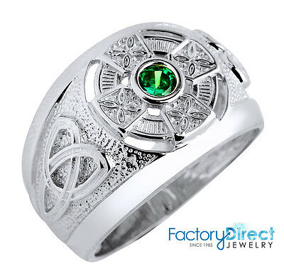 Men's Silver .925 Celtic Ring with Emerald Green CZ (Made in USA)