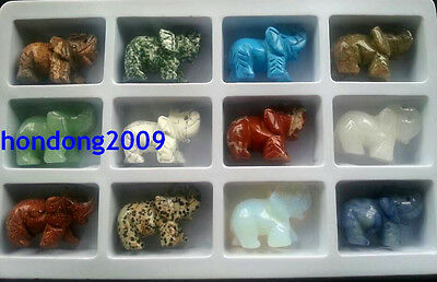 12 kinds of Natural Gemtones Hand Carved Elephant Figurine
