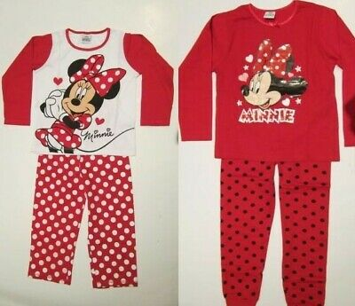 Girls Disney Minnie Mouse Red  Cotton Pyjamas  New In Bag Ages 2-3-4-5-6