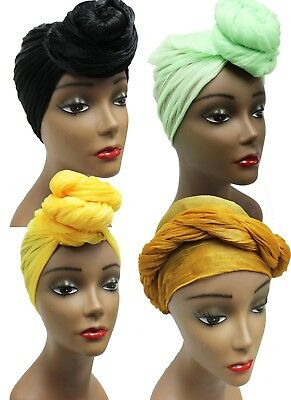 Head Wrap Scarfs - African Scarf Hair Ties - Long Stretch Sizing Crinkle Scarfs