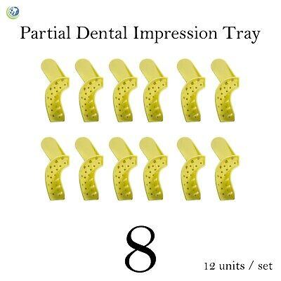 Dental Disposable Impression Trays Perforated Autoclavable Partial #8 12/Set