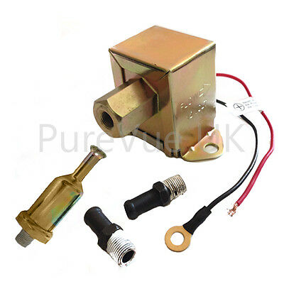 Universal 12V Fuel Pump + 2X Fuel Unions + In-Line Fuel Filter -Fpu