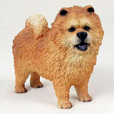 Chow Chow Figurine Hand Painted Collectible Statue Red