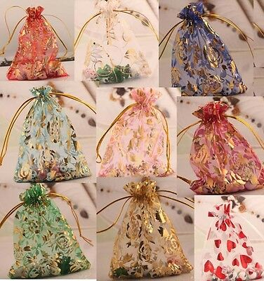 """10/100pcs Vogue Organza Jewelry Packing Wedding Party Gift Pouch Bags 4""""x4.7"""""""