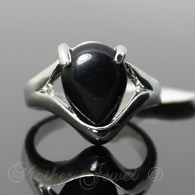 Womens Girls Ladies Pear Good Fortune Black Agate Silver Sp Cocktail Dress Ring