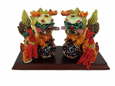 Fu Dog Chinese Mythical Guardian Lion Figurine Lucky Pair Swords Feng Shui