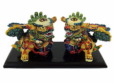 Fu Dog Chinese Mythical Guardian Lion Figurine Lucky Pair Winged Feng Shui