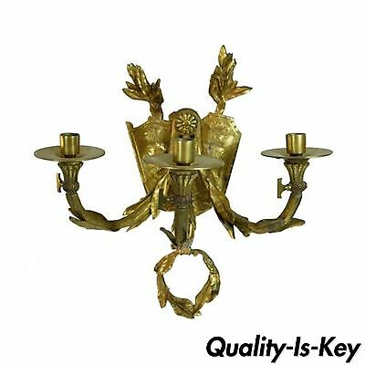 19th C French Bronze Acanthus Candle Holder Wall Sconce Coat of Arms Lion Shield