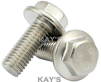 M6 Flanged Hexagon Screws, Fully Threaded Flange Head Bolts A2 Stainless Steel