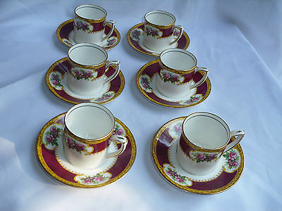 Grafton China BAJ & Sons Six Demitasse Cup And Saucers