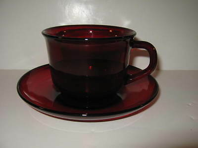VINTAGE FRENCH ARCOROC RUBY RED GLASS TEA COFFEE CUP & SAUCER MADE IN FRANCE