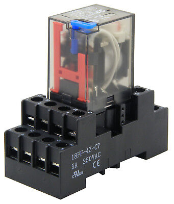 4 Pole C/O 5A 14 Pin 12VDC Relay, Test button & LED with Din Socket EBY-4-12VDC