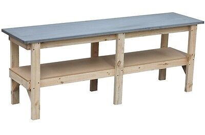 Work bench 2400 x 600mm with steel laminated bench top