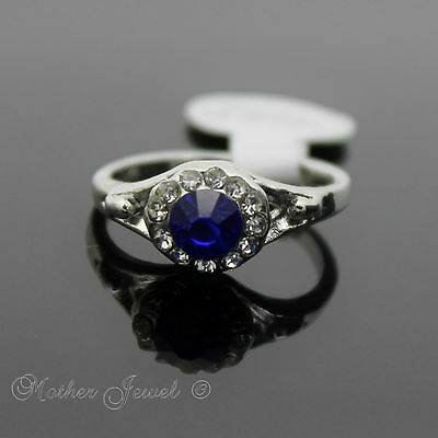 Amazing Gift Royal Blue Cluster Girls Womens Ladies Small Large Size Silver Ring