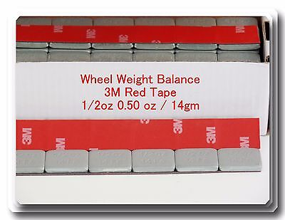 90 Pcs Stick on Self Adhesive Wheel Weights 1/2 0.50 OZ TOTAL 45 OZ RED 3M TAPE
