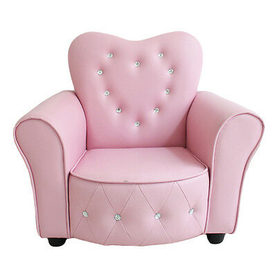 Beautiful Pink Crystal PU Leather Heart Kids Boys Girls Sofa Couch Chair