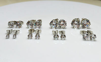 Shiny 18K White Gold PLT Clear Round Cubic Zirconia CZ Stud Earrings 3mm-10mm UK