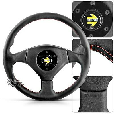 360mm Three Spoke Leather Racing Sport Steering Wheel Hand Red Lining Stitches