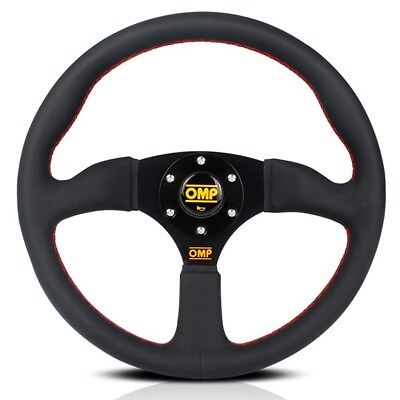 350mm Genuine Black Leather Dished Racing Sport Steering Wheel with MOMO Horn