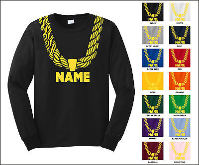 Gold Chain Custom Personalized Name Metallic Print Funny Long Sleeve T-Shirt