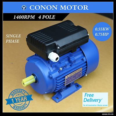 0.55kw 0.75HP  4poles 1400rpm shaft 19mm Electric motor  1phase 240v