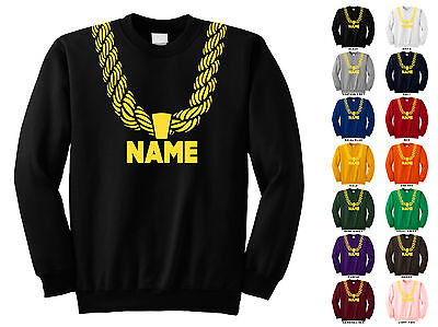 Gold Chain Custom Personalized Name Metallic Hip Hop Funny Crewneck Sweatshirt