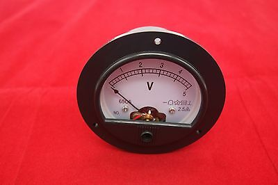 DC 0-5V  Round Analog Voltmeter Voltage Panel meter DH62 directly Connect
