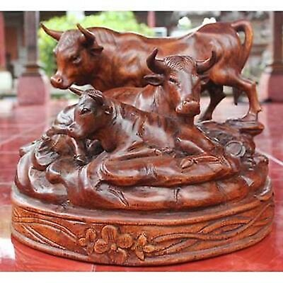 Black Forest Style Cows/Bulls 40Cm Solid Suar Wood Carving Animal Sculpture