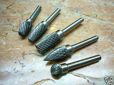 "5 pcs 12MM ( 1/2"" ) THK Tungsten Carbide Rotary Burr points cutter SET 6mm shaft"
