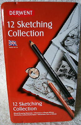 Derwent Mixed Sketching Collection Set of 12 With Collectible Tin ~ **NEW**