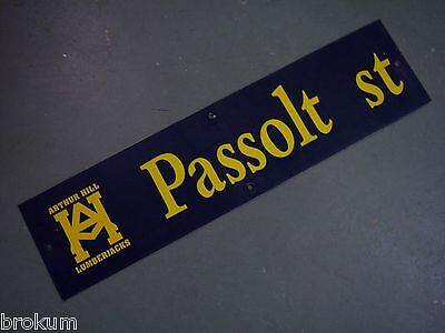 "Vintage ARTHUR HILL / PASSOLT ST STREET SIGN 36"" X 9"" GOLD LETTERING ON BLUE"