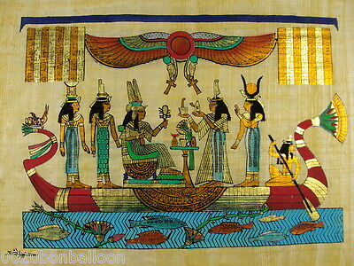 "Original Hand Painted Papyrus 8""X12"" (20x30 Cm) Egyptian Pharaoh Queens"