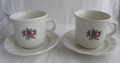 2 Pfaltzgraff Red Ribbons Bows Cups Mugs And Saucers Holiday Christmas