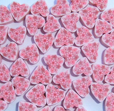 40 x Pink Heart Fimo Beads 8-10mm Wide