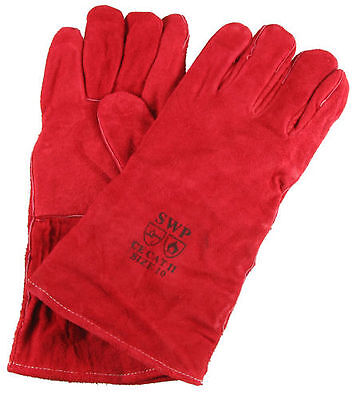 Red Heat Resistant Fireplace Stove Woodburner BBQ Barbeque Fireside Gloves