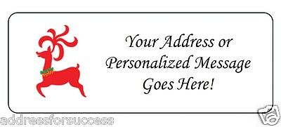 60 Personalized Red Colorful Reindeer Holiday Christmas Return Address Labels
