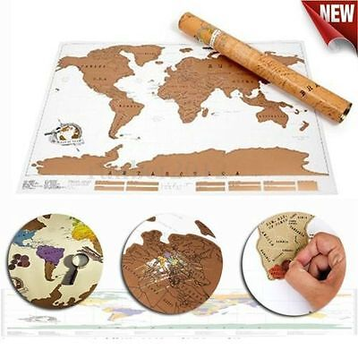Travel Edition Vacation Personalized Log Gift Scratch Off World Map Poster new